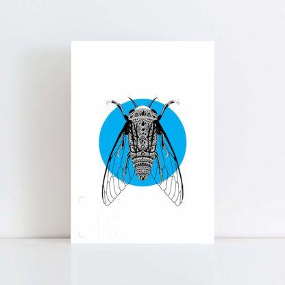 Original Illustration of a Cicada with Blue Background No Frame