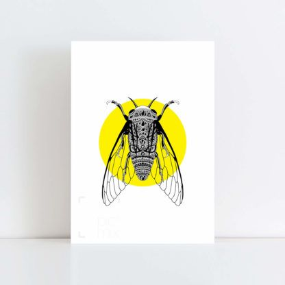 Original Illustration of a Cicada with Yellow Background No Frame