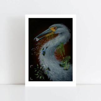 Print of Heron No Frame