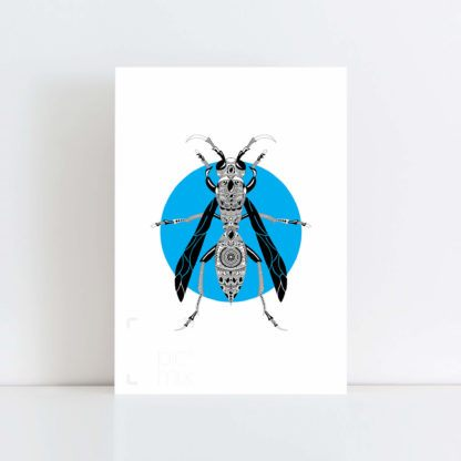 Original Illustration of a Wasp with a blue background No Frame