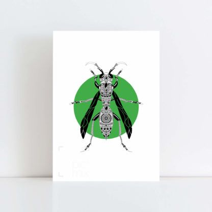 Original Illustration of a Wasp with a green background No Frame