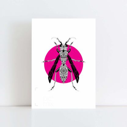 Original Illustration of a Wasp with a pink background No Frame