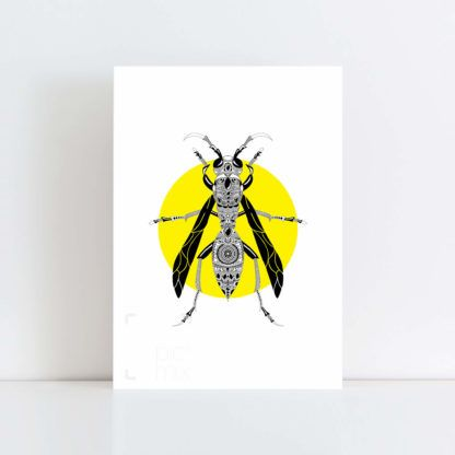 Original Illustration of a Wasp with a yellow background No Frame