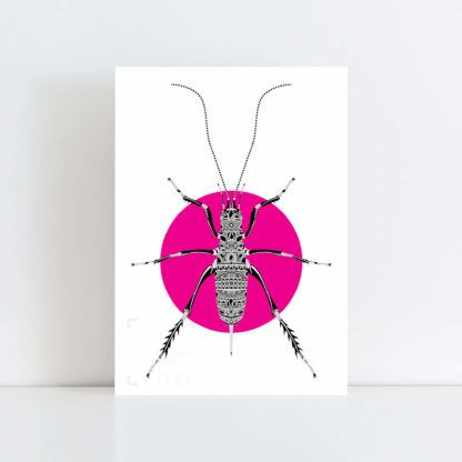 Original Illustration of a Weta with a pink background No Frame