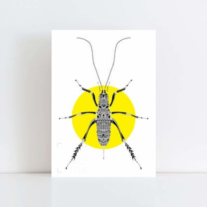 Original Illustration of a Weta with a yellow background No Frame