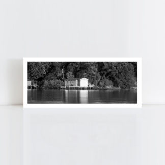 A panorama original black and white photo print of 'Old Boat Shed' No Frame