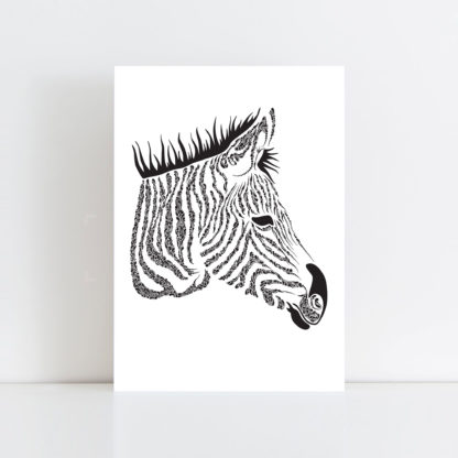Original Illustration of a Zebra with a white background